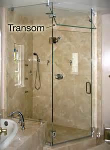 glass transom for frameless glass showers