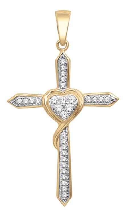cadenas de oro raras elegante cruz en oro amarillo de 14k con 15 puntos de