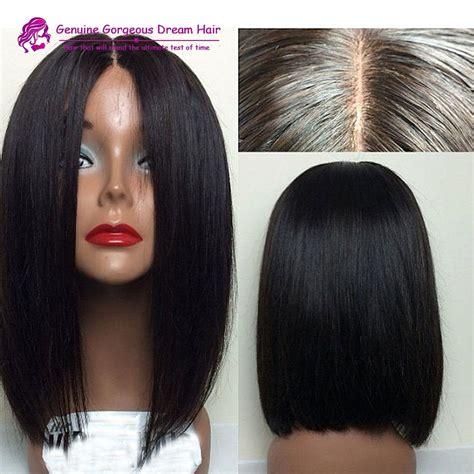 middle part bob wig middle part human hair short bob wigs for black women