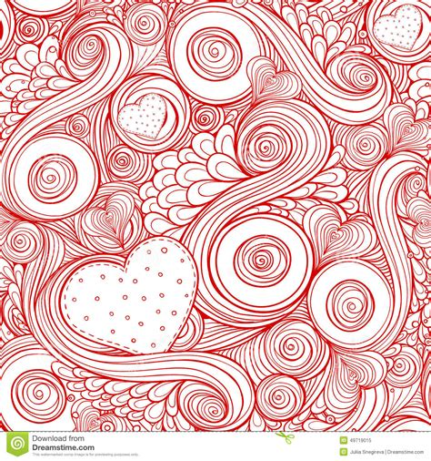 doodle romantis seamless pattern with doodle and hearts stock