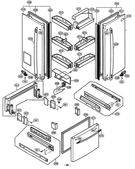 kenmore refrigerator parts diagram door parts diagram parts list for model 79575194400