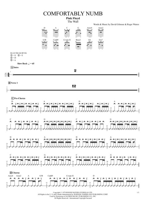 comfortably numb chords guitar comfortably numb by pink floyd full score guitar pro tab
