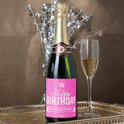 personalised champagne happy birthday pink stripes