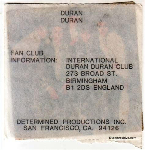 duran duran fan club code international duran fan club sticker duran archive