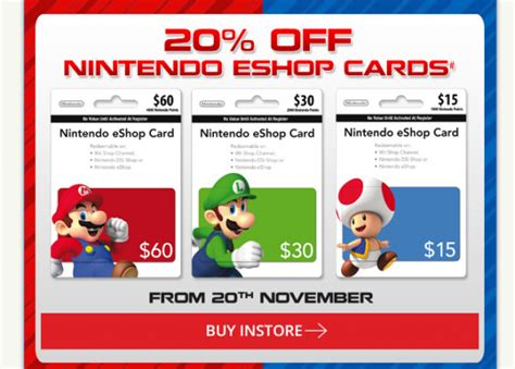 Eshop Gift Card - bargain alert 20 off nintendo eshop cards at eb games vooks