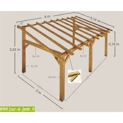 carport plan auvent terrasse sherwood carport bois de 5mx3 garage