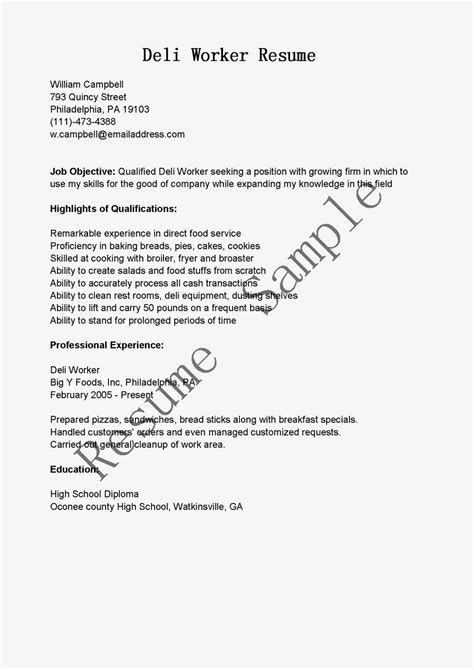 deli clerk job description deli manager job description for resume