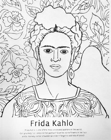 frida kahlo self portrait with monkey free colouring pages