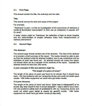 report writing format template project report format 16 free pdf documents