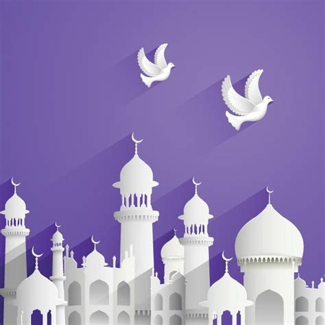 design masjid vector free download free vector beautiful card mosque with birds flying eid