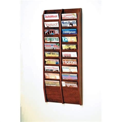 wooden mallet 20 pocket wall mount magazine rack in