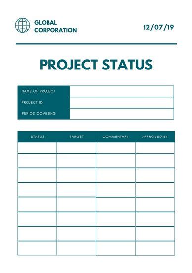 simple project status report template gold white creative corporate social media report