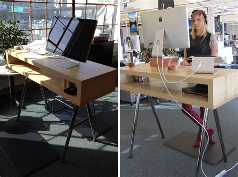 Get Up Stand Up 10 Do It Yourself Standing Desks Brit Co Ikea Standing Desk Hack
