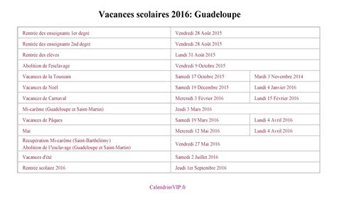 Calendrier Scolaire 2016 Guadeloupe Calendrier Scolaire Guadeloupe 2017 Clrdrs