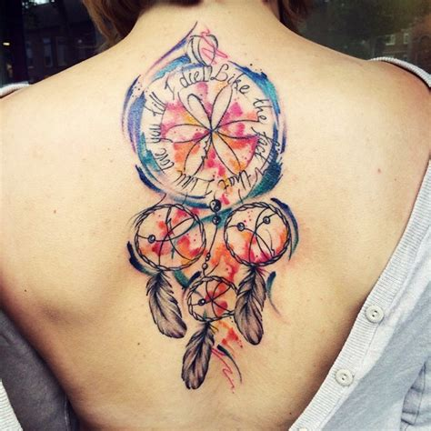 25 colorful dream catcher tattoo that will be uniquely