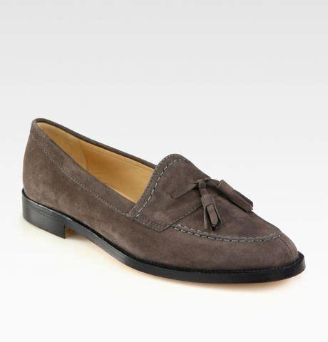grey tassel loafers manolo blahnik suede tassel loafers in gray grey lyst
