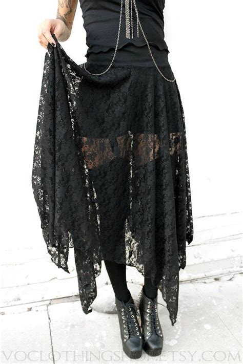 witchy black lace sheer maxi skirt