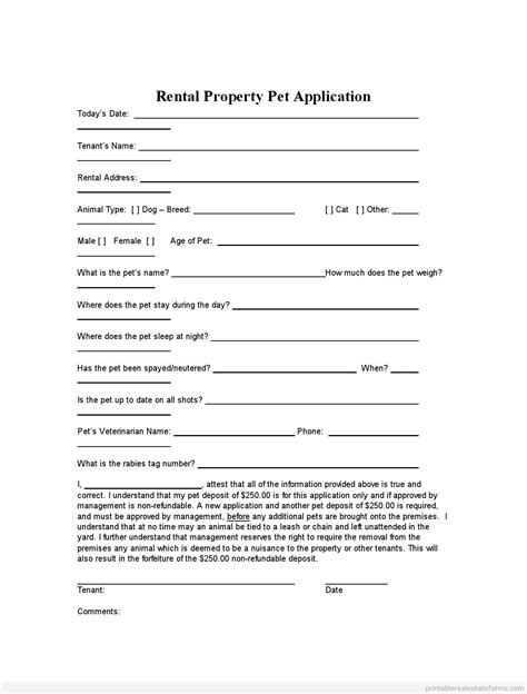 Free Printable Rental Agreement Forms Pet Application Puppy Application Form Template