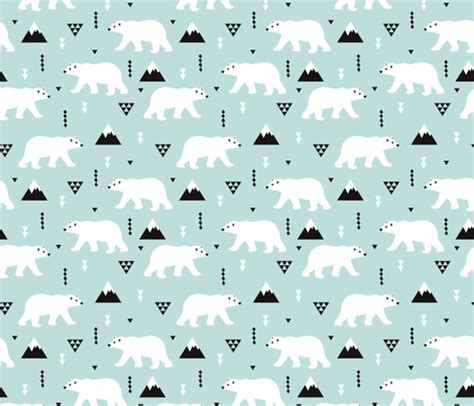 cute mountain pattern cute polar bear mint blue winter mountain geometric
