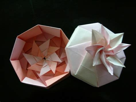 Origami Flower Box - origami box octagon flower origami containers boxes