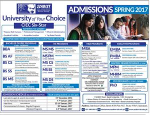 Szabist Mba Admission 2017 by Admissions In Islamabad City 2017 Studypk