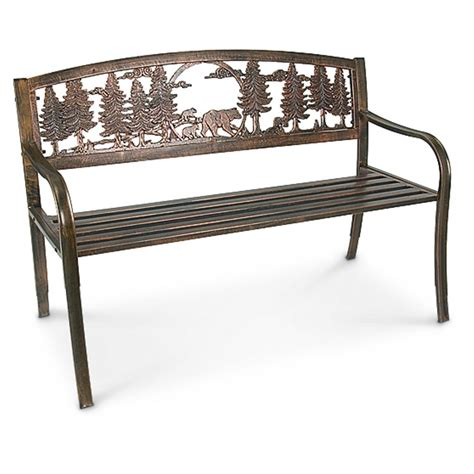 outdoor aluminum bench r a guthrie solid metal freedom bench 199836 patio furniture at sportsman s guide