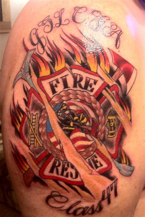 fireman cross tattoo firefighter images designs