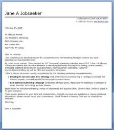 Cover Letter For Marketing by Sle Cover Letters For Advertising