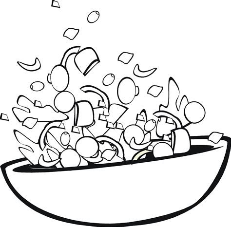salad bowl coloring page food coloring pages children s best activities