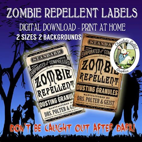 printable zombie labels zombie repellent digital download halloween vintage style