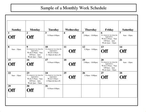 Work Schedule Calendar Template 2015