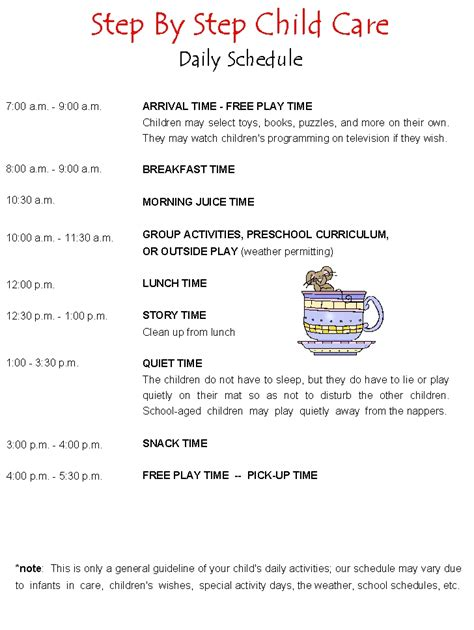child care daily routine template child care schedule template hunecompany
