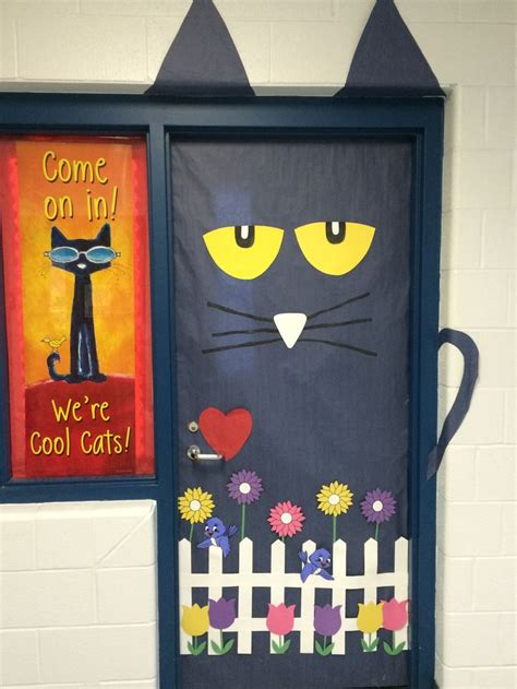 Cat Doors For Windows Decor Think Pete The Cat For Your Classroom Door Bulletin Board Or Door School Stuff