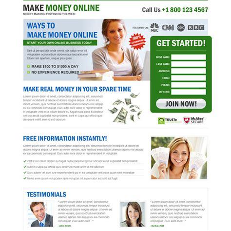 Make Money Online Landing Page - money online landing page design templates to earn money online