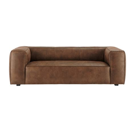 Suede Leather Sofa 3 Seater Imitation Suede Sofa In Brown Smith Maisons Du Monde