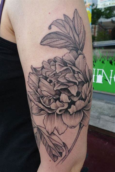White Left Flower 39 black and white peony tattoos designs and ideas
