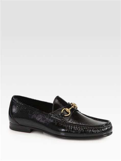 gucci loafers sale womens gucci roos patent leather horsebit loafers in black for