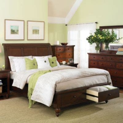 aspen cambridge bedroom set aspenhome cambridge sleigh storage bed in cherry
