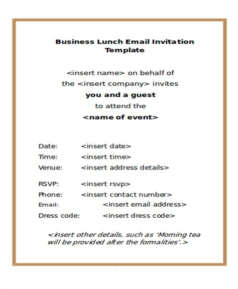 free email invitation template formal lunch invitation template infoinvitation co