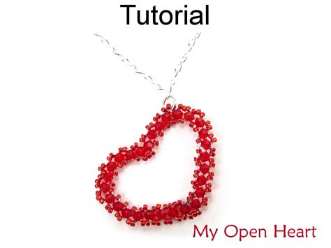 beaded superduo 2 hole bead valentines heart chain beading tutorial pattern instructions necklace