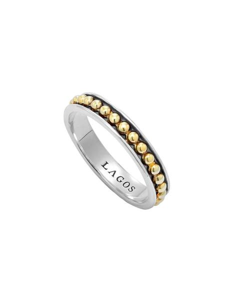 lagos 3mm stackable silver 18k enso ring in silver lyst