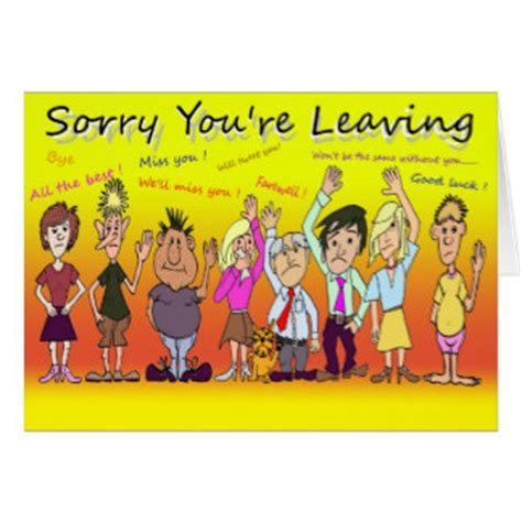 sorry you re leaving card template cards invitations zazzle co uk