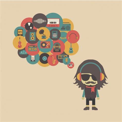 imagenes hipster musica hipster pensando en m 250 sica descargar vectores gratis