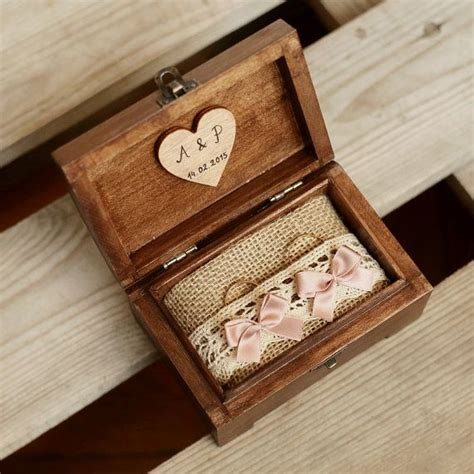 personalized wedding ring box wooden ring box by