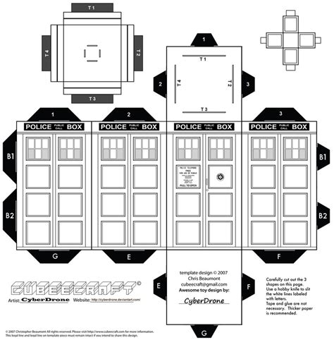 Papercraft Tardis - cubee colour your own tardis by cyberdrone on deviantart