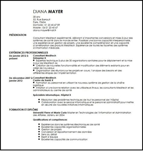 Meditech Consultant Sle Resume by Cv Consultant Meditech Exemple Cv Consultant Meditech Livecareer