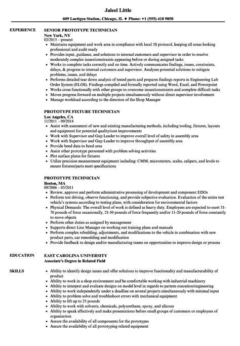 prototype technician resume sles velvet
