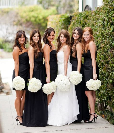 black dresses for wedding bridesmaid mismatched black bridesmaid dresses with white hydrangea