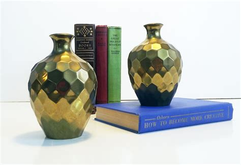 made in india home decor vintage rih solid brass faceted honeycomb vases set of 2