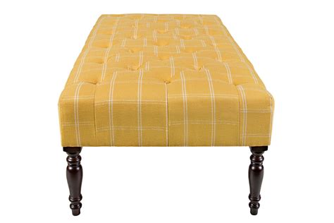 yellow and white ottoman tufted cocktail yellow ottoman at gardner white